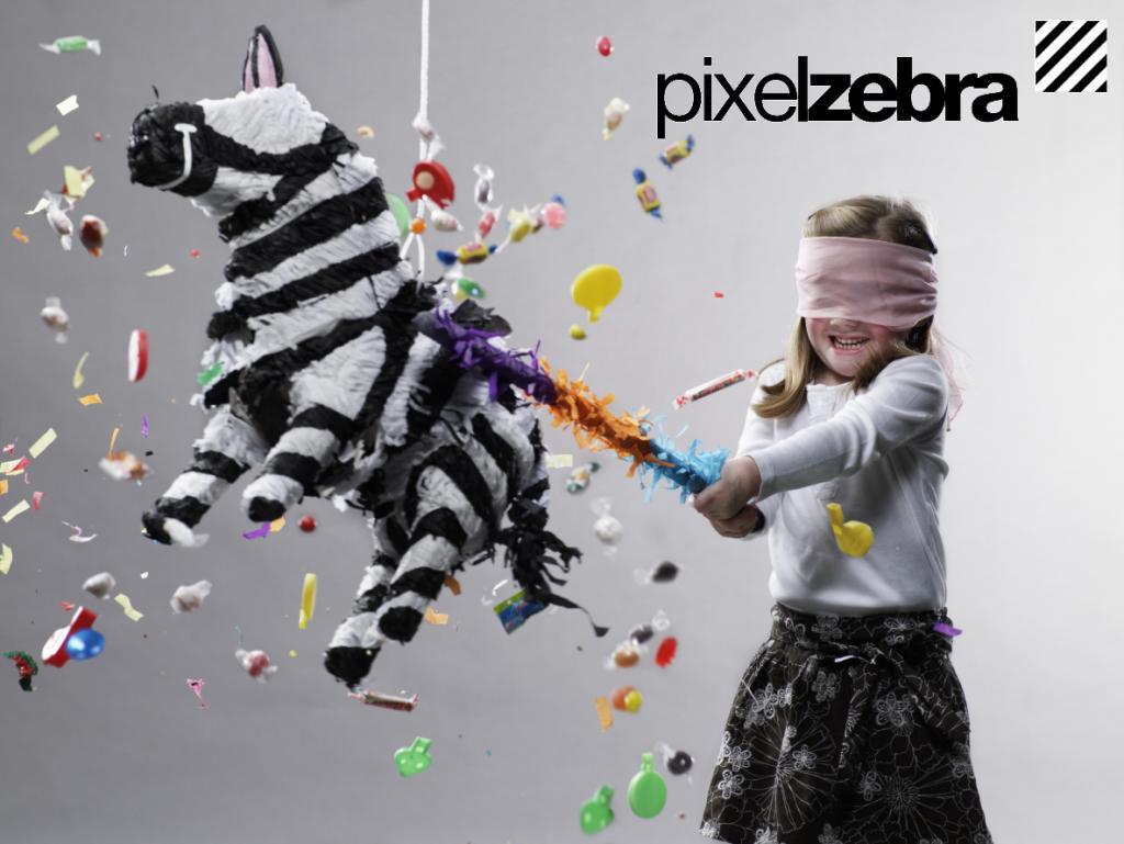 Pixelzebra meisje plus logo - wie zijn wij
